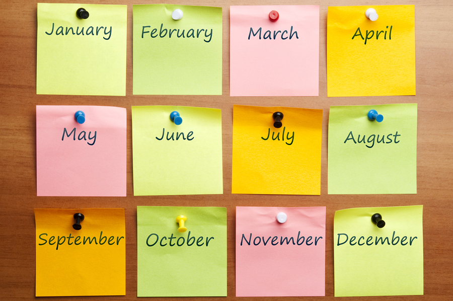 Calendar made by post it with copy space